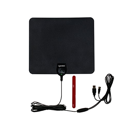 Leadsign Indoor HDTV Antenna with Built-in Signal Amplifier+16.5 Feet Long Cable+3.3 Feet USB Cord-50 Miles Long Range