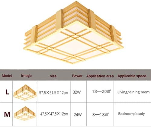 William 337 Ceiling Light - Indoor LED Solid Wood Lamp Ceiling Lamp Japanese Wood Lamp, Suitable for Living Room Bedroom [Energy Rating A++] (Color : Stepless dimming)