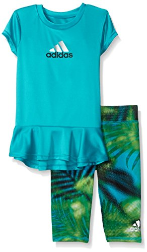 adidas Toddler Girls' Short Sleeve Tee and Capri Set, Shock Green, 4T (Toddler Girls Capri Set)