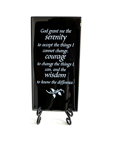 Lifeforce Glass The Serenity Prayer Inspirational Glass Plaque. Encouraging and Centering Words to Empower. Includes a Folding Easel ()