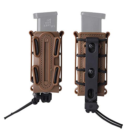 KRYDEX 9mm Mag Pouch Soft Shell Pistol Pouches Tactical Magazine Carrier Tall (with Molle Clip-Dark Earth)
