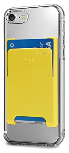 Ringke Slot Card Holder [Peach Pink Rosa Melocotón] Minimalista Slim duro superior de calidad superior palo de la tarjeta de crédito sobre la manga de la tarjeta de archivo adjunto para el Samsung Gal Amarillo