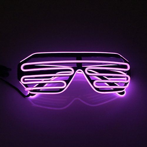 D&D Shutter EL Wire Neon Glasses LED Sunglasses Light up Battery Costumes for Party - Kanye Sunglasses