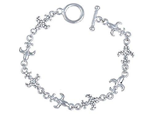 Alilang Dainty Princess Crystal Rhinestone Fleur De Lis Symbol Toggle Bracelet