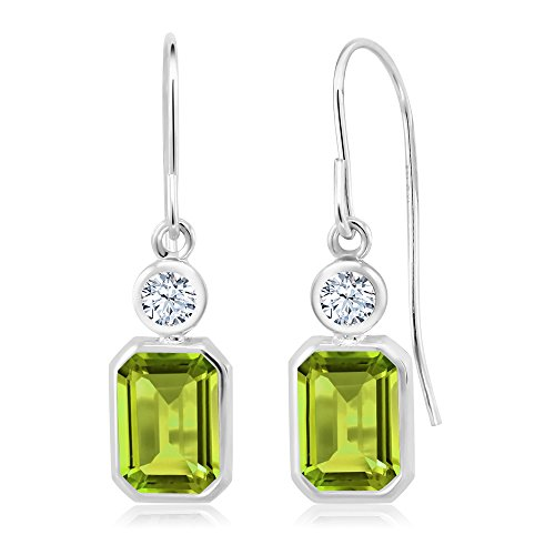 2.18 Ct Emerald Cut Green Peridot 925 Sterling Silver ()