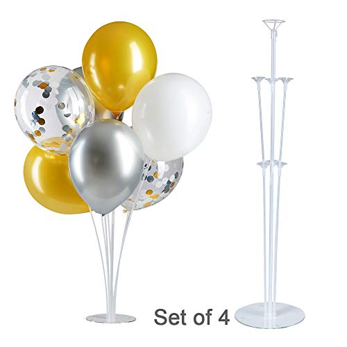 GAKA Table Balloon Stand Kit-Tinabless 4 Sets 28 Height,Balloons Column Stand Reusable Clear Balloon Holder(7 Balloon Sticks,7 Balloon Cups,1 Balloon Base) for Any Occasions Party Decorations