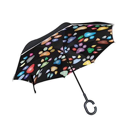 Inverted Umbrella Colorful Paw Prints Reverse Umbrella UV Protection Windproof for Car Rain Sun Outdoor Black -