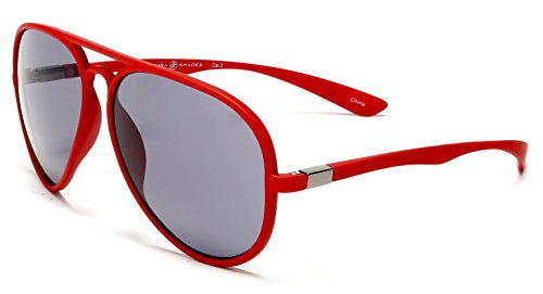 Smaba Shades Classic French Riviera Sport Military Pilot Carrera Sunglasses with Unbreakable Rubber Red Frame, Grey ()