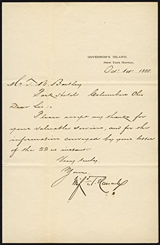 Major General Winfield Scott Hancock Manuscript Letter Signed 10/01/1880