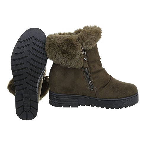 Zapatos para mujer Botas Plano Classic Botines Ital-Design Olive
