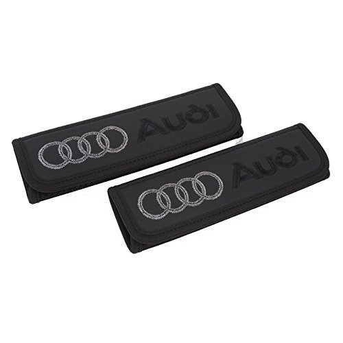 Audi seat Belt Covers Pads Shoulder for Adults Seatbelt Cover pad with Embroidered Audi Emblem Interior Accessories 2 pcs A Great Gift for her and him (Black with Black and Silver)