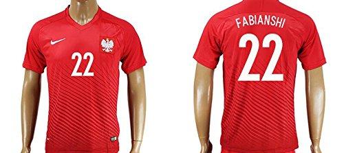 Uefa Euro 2016 Poland 22 ?ukasz Fabia?ski Soccer Shirt European Championship Jersey Mens Short Sleeve