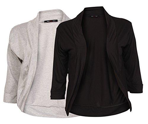 Ten on Ten Women's Half Sleeve Shrug Free Size Brey/ Black