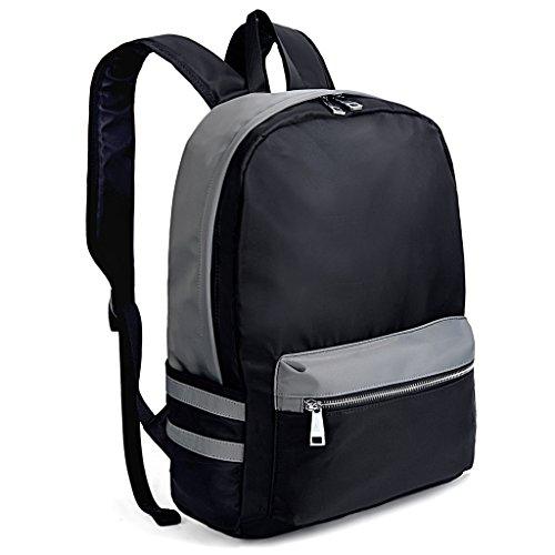 UTO mochila para laptop Oxford impermeable tela Nylon Unisex mochila escuela de la universidad Bookbag bolsa de viaje bolsa de hombro Negro & Gris