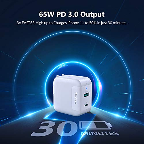 USB C Charger, Mac Book Air/Pro Charger, Blitzforce 2-Port 65W/45W Laptop & 18W Mobile Wall Charger, PD 3.0 & GaN Tech for High Speed Charging for iPhone/iPad/MacBook/Dell/Lenovo/Surface USB-C Laptop
