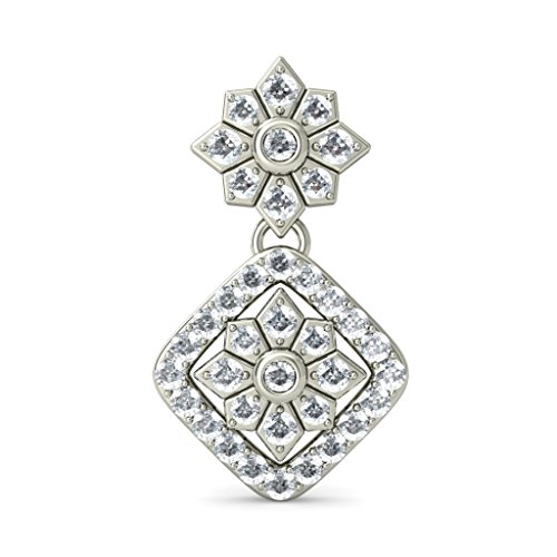 Or blanc 14K 0.98CT TW Round-cut-diamond (IJ | SI) Pendants d'oreilles