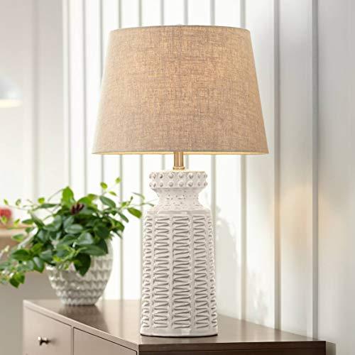 Helene Country Cottage Table Lamp Ceramic Rustic Cream White Glaze Linen Tapered Drum Shade for Living Room Family Bedroom - 360 Lighting