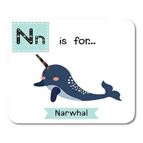 Boszina Mouse Pads Colorful ABC Cute Children Zoo Alphabet N Letter Tracing of Dark Blue Narwhal Learning English Vocabulary Mouse Pad for notebooks,Desktop Computers mats 9.5