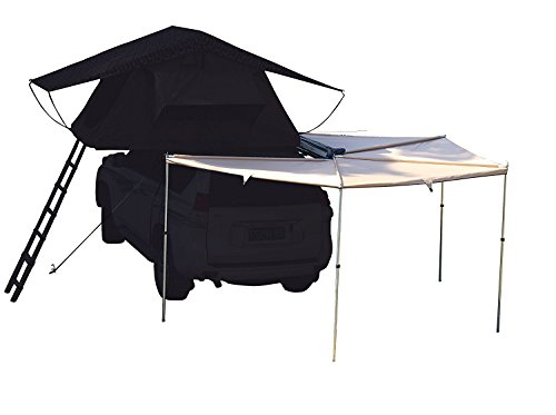600d Ripstop Poly Oxford - Hasika All-Weather Car Sector Awning Side Rooftop Tent Sun Shelter Designed for Vehicle with Roof Rack- Right/Left Hand Driver Side Awning Radius 8.2 ft,Khaki