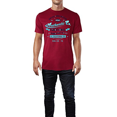 Sinus Art ® Herren T Shirt Authentic Traditional Handcrafted Denim ( Independence_Red ) Crewneck Tee with Frontartwork