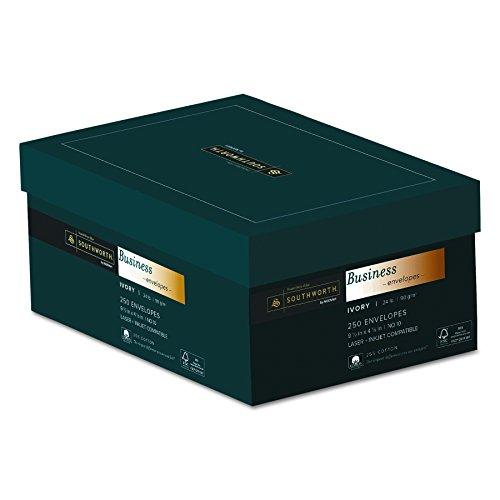 Southworth Fine Business Envelopes, 25% Cotton, 10, 24 lb, Ivory, 250 Count (J404I-10) ()