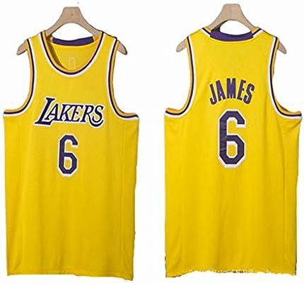 Y&J James # 6 Lakers Baloncesto Jersey Productos Bordados Yellow-L ...