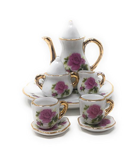 1:6 Scale 10 Piece Mini Dollhouse Size Rose Floral Tea Set with Teapot, Sugar, Creamer, Two Cups and Saucers, and Plate (White with Small Rose Floral and Goldtone Accents)