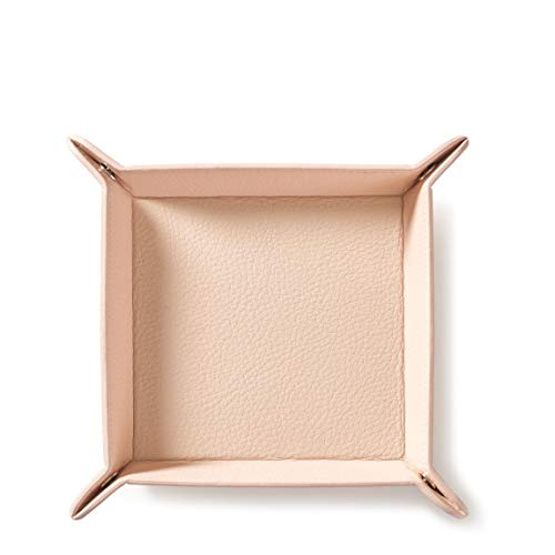 (Square Valet Tray - Full Grain Leather Leather - Rose (Pink) )
