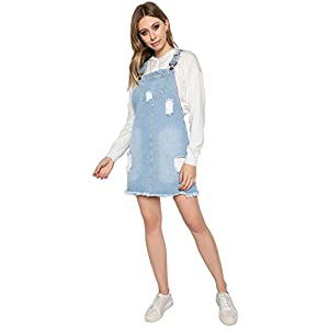 TwiinSisters Women's Casual Denim Destroyed Overall Dress for Women Plus