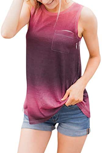 SADUORHAPPY Women's Summer Tank Tops Gradient Printed Sleeveless T-Shirt Loose Casual Ladies Tunic Tanks Vest Tops