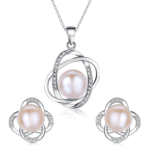 Stunning Flawless Pearl Stud Earrings & Silver Chain Pendant Set| Impeccable Quality Natural, Flawless Freshwater Pearl & 925 Sterling Silver| The Most Unique Fashion Jewelry Set (2 | Pink Pearls)
