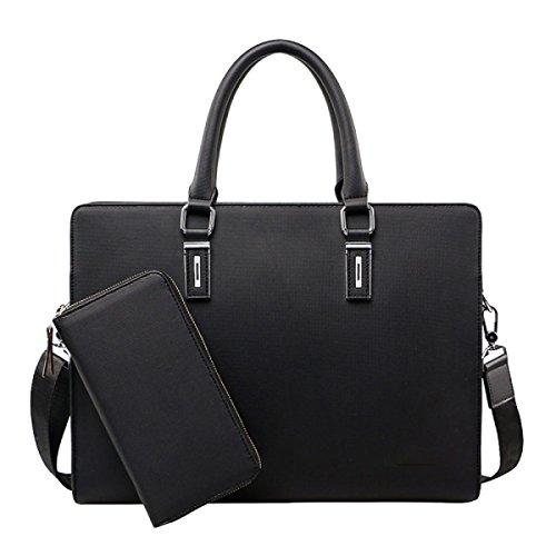 Bolsa De Hombro Bolsa De Maletín Messenger Bag Paquete De Archivos De Gran Capacidad Ocio Black