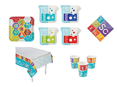 THE UM24 Science Party Kit - Birthday Party Supplies Set Science Theme Dinner, Dessert Plates and Napkins and Cups and Tablecloth