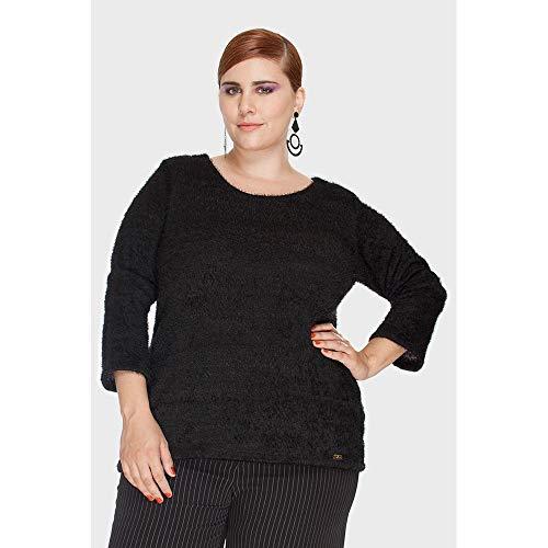 Blusa Malha Fofy Plus Size Preto-50/52