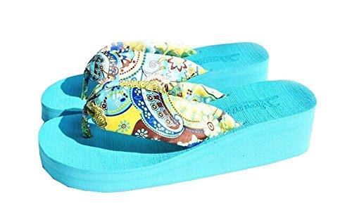 EUROPE Taille Minetom Voyage pantoufle flop Femmes vacances Bohémien Bleu fleurs Plage Eté flip Pantoufles wTFFPa7fq