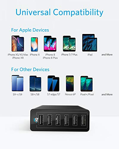 Anker-USB-Wall-Charger-60W-6-Port-USB-Charging-Station-PowerPort-6-Multi-USB-Charger-for-iPhone-XSMaxXRX87Plus-iPad-ProAir-2MiniiPod-Galaxy-S9S8S7EdgePlus-Note-LG-HTC-and-More