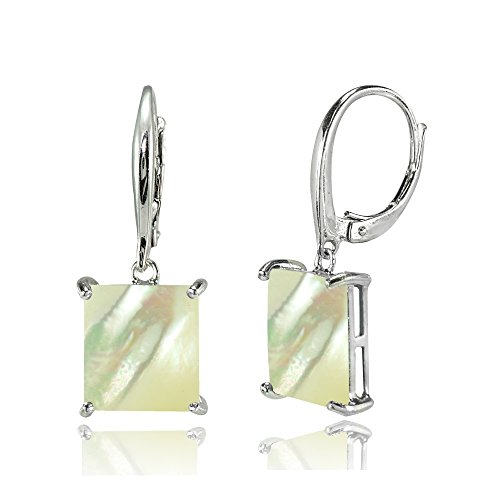 Sterling Silver Simulated Mother of Pearl Square Leverback Dangle - Mother Pearl Of Opal