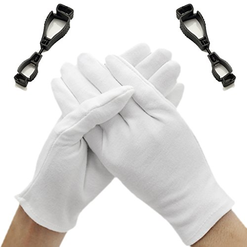 Gloves Cotton White Cotton Gloves for Dry Hands Cosmetic Inspection Jewelry Coins Spa Moisturizing Sleeping Soft Beauty Man- Women 12 Pairs Cream Large / L Thin Costume Therapeutic with Clip Grabber by Kidwand