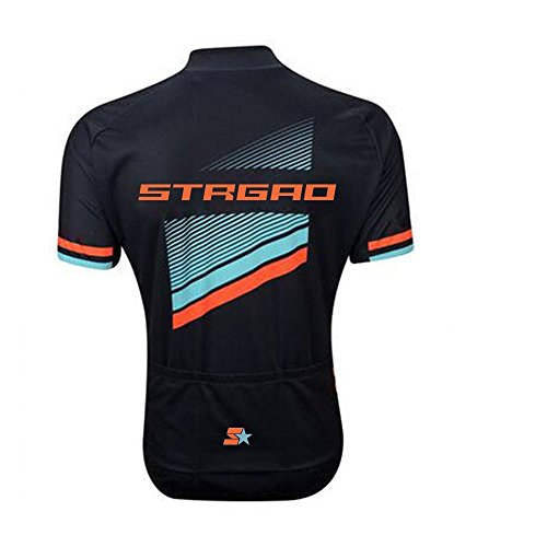 STRGAO Hommes Breathable Cycling Manches Courtes Cycling Jersey Vêtements Sports et Loisirs Maillot de Cyclisme Manches Courtes L