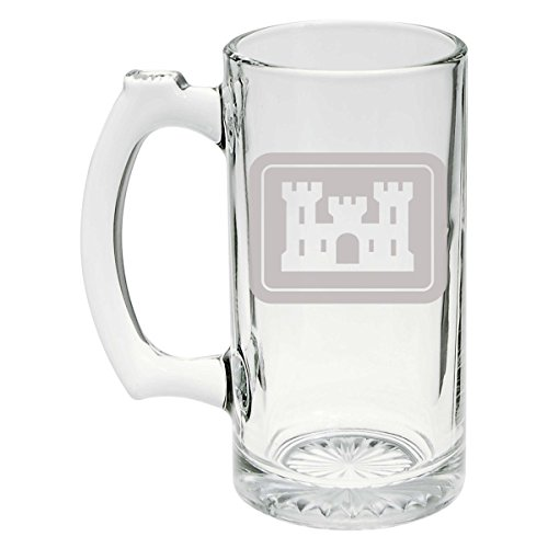(US Army - United States Army Corps of Engineers Logo Etched Stein Glass 25oz,)