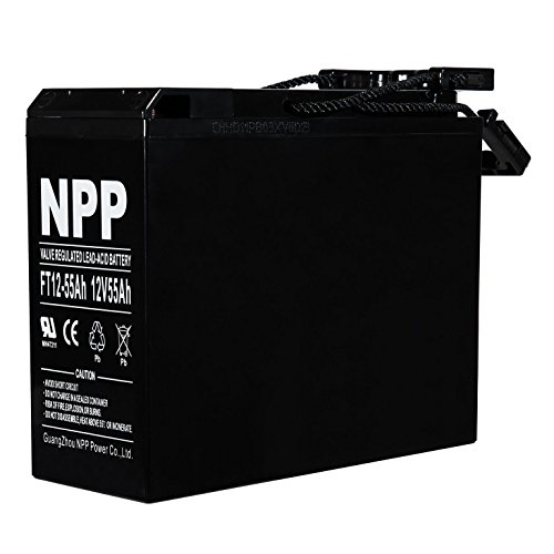 NPP FT12-55Ah Front Access 12 Volt 55Ah AGM Deep Cycle Battery With Button Style Terminals for Telecom System/Solar Panels/Pure Sine Inverter
