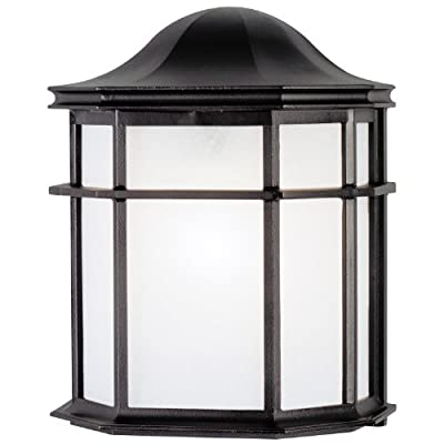 Westinghouse 6689800 One-Light Exterior Wall Lantern, Textured Black Finish on Cast Aluminum with White Acrylic Lens
