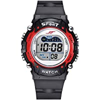 Kids Digital Watch - 7 Colors Flashing Light Watch for Boys, Girls, Childrens Kids Watches Ages 3-12 (red)