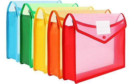 GreatDio® Envelope Folder,Transparent Poly-Plastic A4 Documents File Storage Bag with Snap Button Set of 5/Certificate File Holder/Document Folder for Certificates A4/Bag for Document