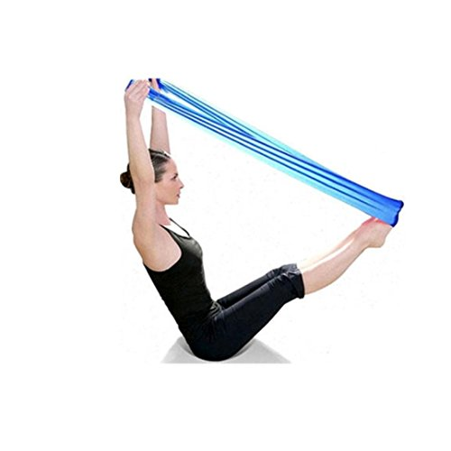 Bessky Pilates Yoga Workout Aerobics Stretch Tensile Elastic Band Straps (Blue)
