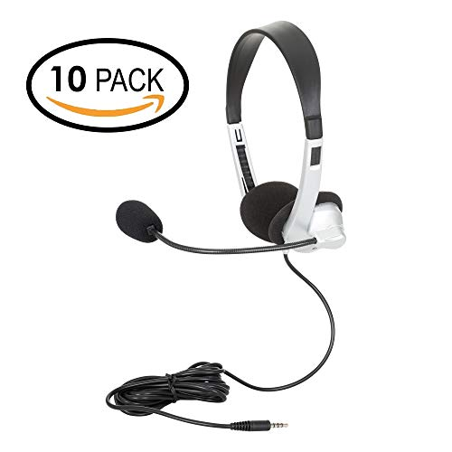 Egghead EGG-IAG-1007TRSS-10-PK-SO Mobile-Ready Multimedia Headset with Volume Control, Black/Silver (Pack of 10)