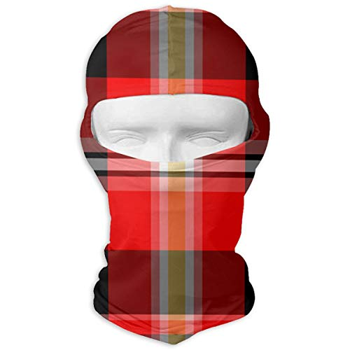 (Plaid Pattern Balaclava Motorcycle Skull Full Face Mask Thermal Windproof Ski Head Hood)