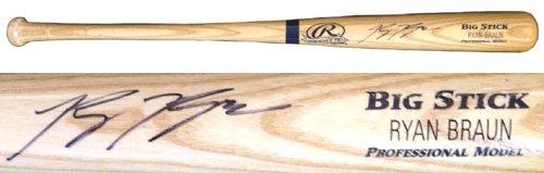 Ryan Braun Autographed/Signed Rawlings Big Stick Blonde MLB Baseball ()