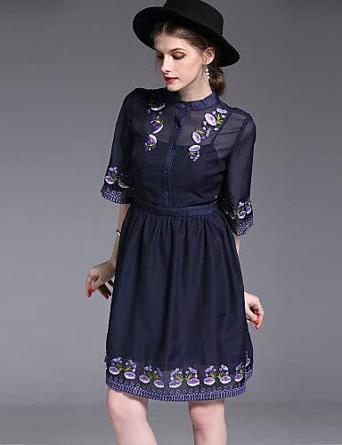 Ricamato linea dalla sofisticata donna abito Floral Elegante da Street Blue YFLTZ azHnW6X