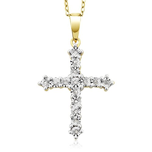 Two-Tone 18K Yellow Gold Plated Diamond Accented Cross Pendant With 18